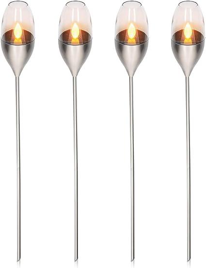 Navaris 4x Antorcha solar LED de exterior - Luces de jardín con efecto de llama - Lámparas decorativas con estaca para césped - Acero inoxidable: Amazon.es: Iluminación