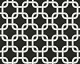 Black and White Modern Chain Link Trellis Drape with Blackout Lining, One Grommet Top Curtain Panel 108 inches long x 50 inches wide For Sale