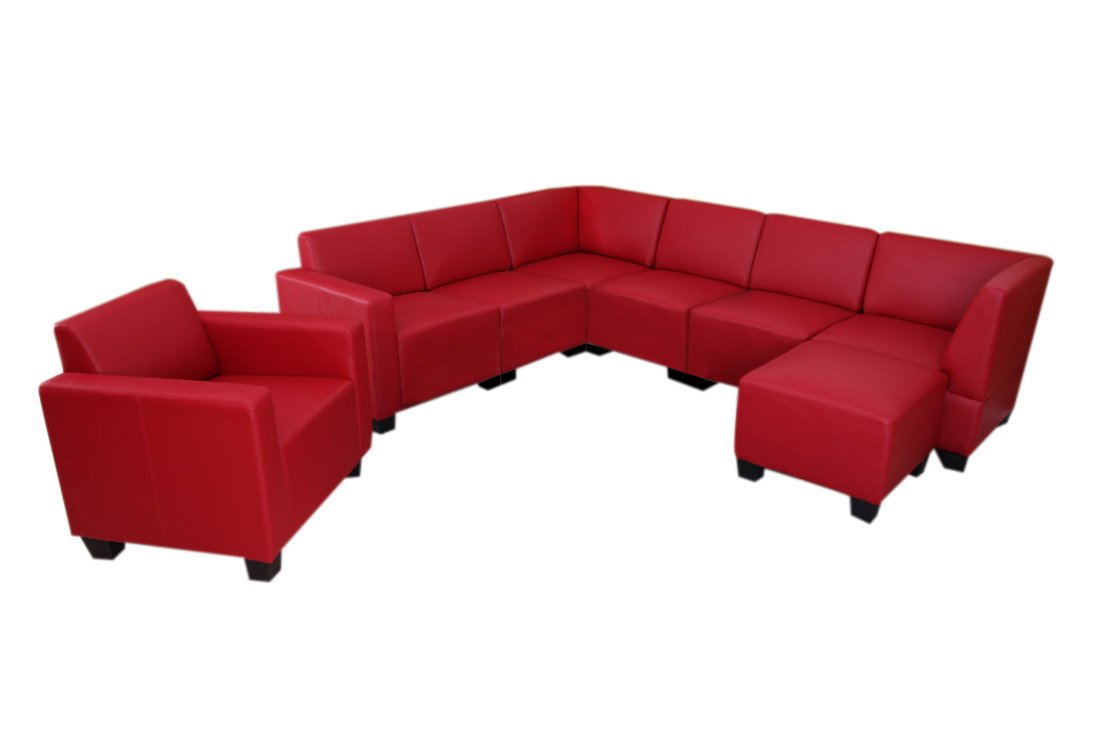 modular sofa system couch garnitur lyon 6 1 1 kunstleder rot g nstig online kaufen. Black Bedroom Furniture Sets. Home Design Ideas