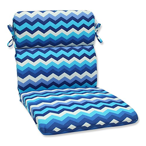 "40.5"" Rayas Azules Blue, Navy and White Chevron Striped Outdoor Patio Rounded Chair Cushion"