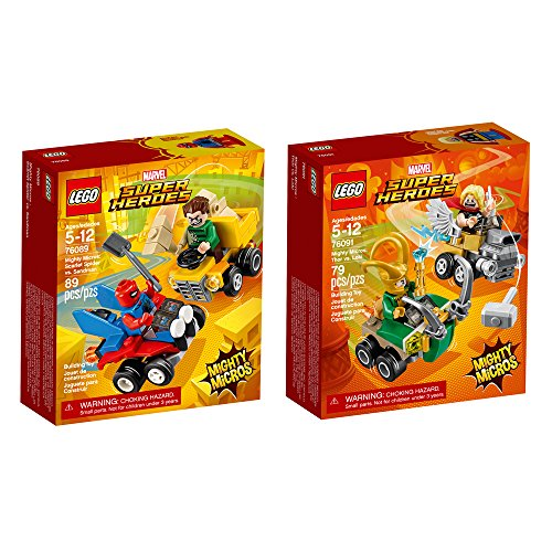 LEGO Super Heroes Micro Spider Man and Thor 2-Pack Bundle Building Kit (168 Piece) Stacking Toys