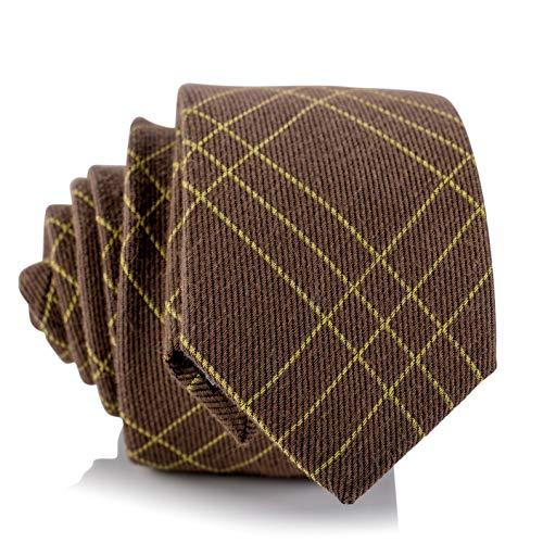 Fly & Dapper Handmade Brown Plaid Pattern Men's Necktie | 2.5