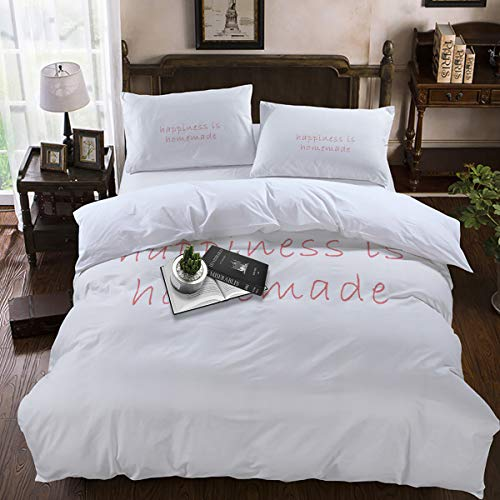 Duvet Cover Sets,Lightweight Soft and Breathable 4-Piece Bedding Comforter Covers with Zipper Closure, Corner Ties for Men, Women, Boys and Girls - Happiness is Homemade King Size]()