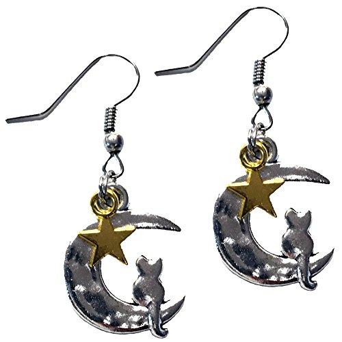 Lunar Cat Star Earrings