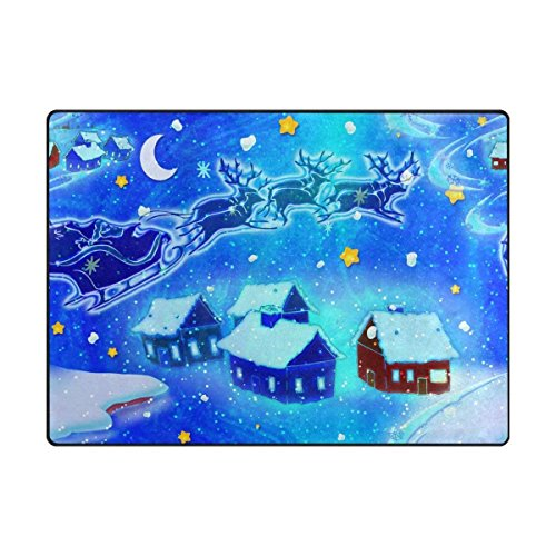 Videly Merry Christmas Area Rug Reindeer Santa Claus Sleigh Houses Snowflake Blue Christmas Background Door Mat Outdoor Indoor Cotton interlayer Polyester Fabric Top ()
