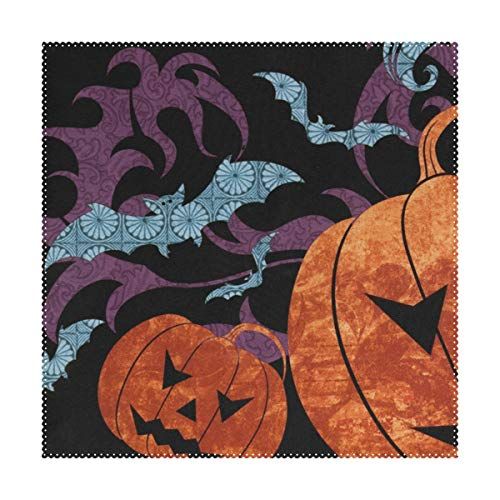 LORVIES Spooky Halloween Background Placemats Set of 4, Heat-Resistant Placemats Stain Resistant Washable Polyester Square Table Place Mat for Kitchen Decorative Dining Table, 12