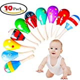 ZesGood Pack of 10 Wooden Maracas Wood Rattles Perfect for Starting Percussionist and Kid Baby Shaker Sand Hammer Toy, Random Color
