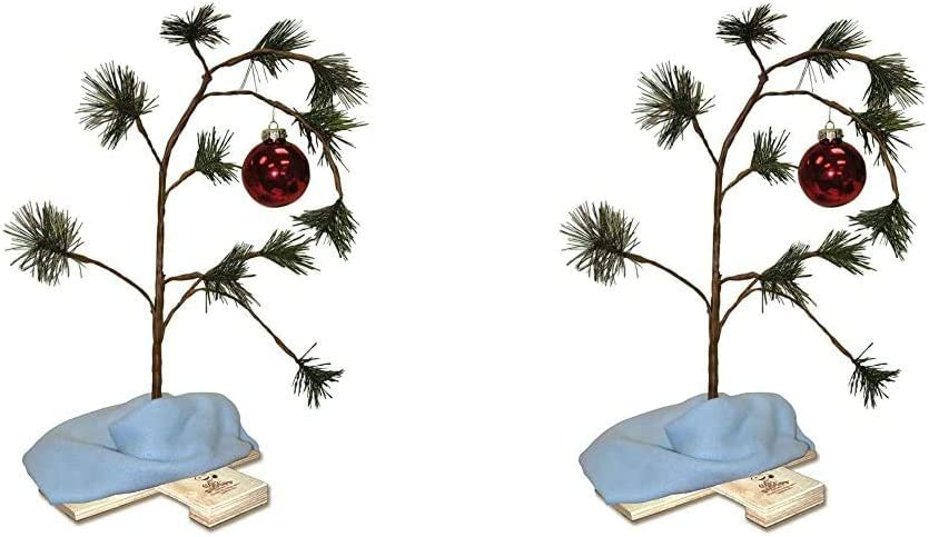 Product Works 14211 Charlie Brown Musical Christmas Tree with Linus's Blanket Holiday Décor & 24-Inch Charlie Brown Christmas Tree with Linus's Blanket Holiday Décor, Classic Ornament, Green