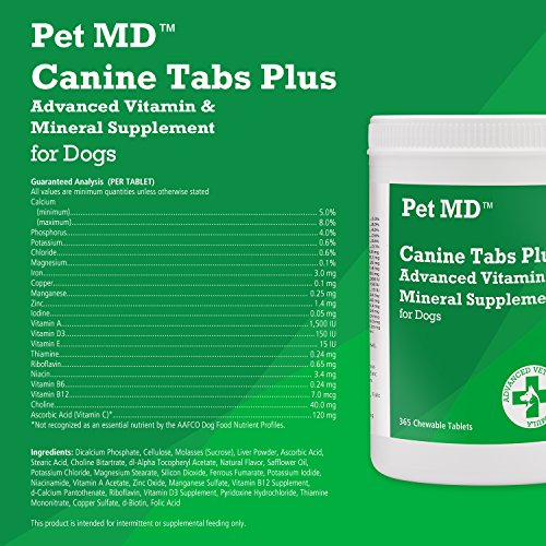 Image of Pet MD - Canine Tabs Plus 365 Count - Advanced Multivitamins for Dogs - Natural Daily Vitamin and Mineral Nutritional Supplement - Liver Flavored Chewable Tablets