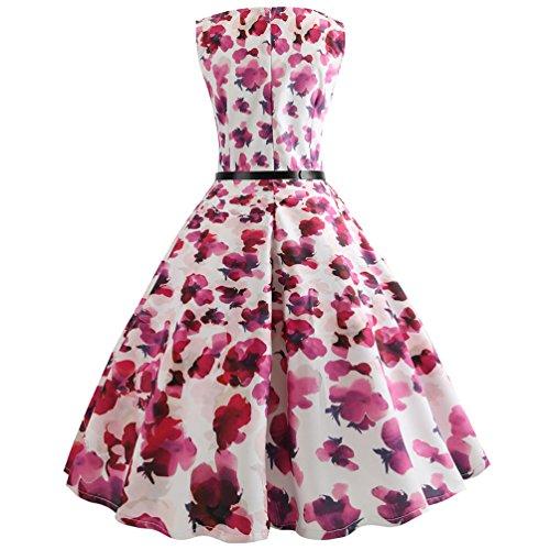 Swing Imprime de Style Vintage sans Plisse Robes Femmes Rockabilly A Cocktail Ligne 9 Manches pour Robe Jitong Soire OvFA17wqq