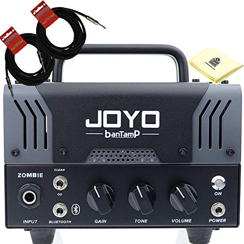 JOYO Zombie Bantamp 20w Pre Amp Tube Hybrid Guitar Amp head Bundle with Built in Cab Speaker Amp Simulation and Bluetooth Wireless Connectivity with 2 Instrument Cable and Zorro Sounds -