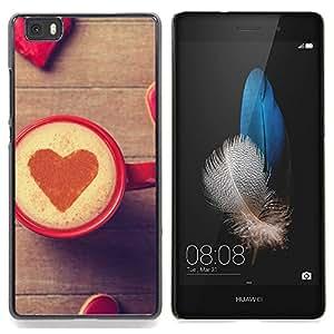 TikTakTok Funda Carcasa protectora para Huawei Ascend P8 Lite (Not for Normal P8) - Corazón del amor del café