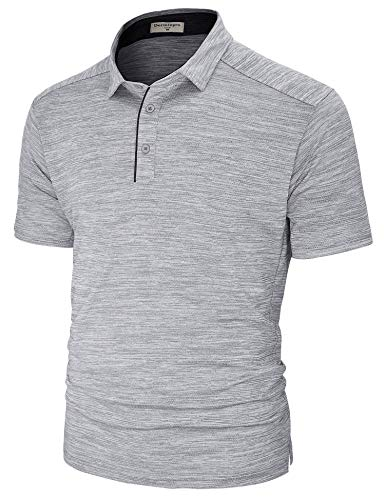 (Derminpro Men's Dry Fit Short Sleeve Golf Polo Shirts Moisture Wicking Sport T-Shirts Grey Large)