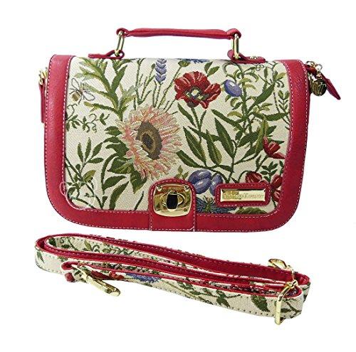 Bolso-cartera tipo satchel convertible en bolso bandolera Nina de la Victoria Tapestry (estilo gobelino) en Flores salvajes
