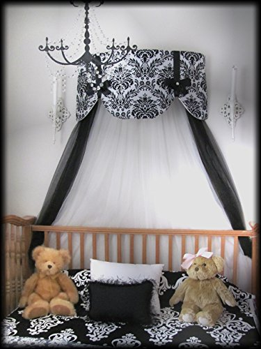Crib Canopy Nursery Bed Crown Cornice Teester Swag Suzette Bows Damask Bedroom FrEE Curtains Baby Girls Custom Design So Zoey Boutique SALE (Awning Standard Bracket)