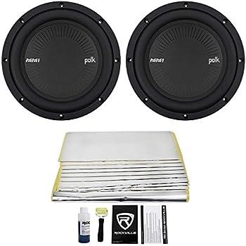 """(2) Polk Audio MM842DVC 8"""" 1800w Dual 4-Ohm Car Audio Subwoofers Subs+Rockmat"""