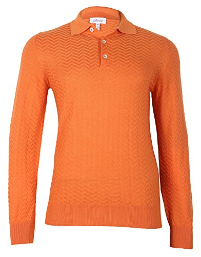 Brioni Men's Orange Cashmere Silk Polo Sweater, size 56 (2XL)
