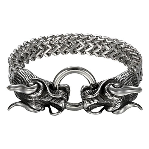 Cupimatch Men's Gothic Biker Solid Stainless Steel Dragon Head Link Chain Bracelet, - Head Dragon Bracelet
