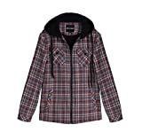 Zenthace Men's Sherpa Lined Full Zip Hooded Plaid Flannel Shirt Jacket Red/Grey S