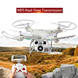 Dirance Mini RC Quadcopter Drone, WiFi FPV Live Wide Angle Lens HD Camera Helicopter, Headless Mode & Altitude Hold & One Key Return (White)