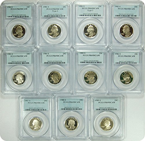 "0 S 1980-89S Date Run of ""11"" PCGS PR69DCAM Washington Quarters DCAM PCGS PR-69"