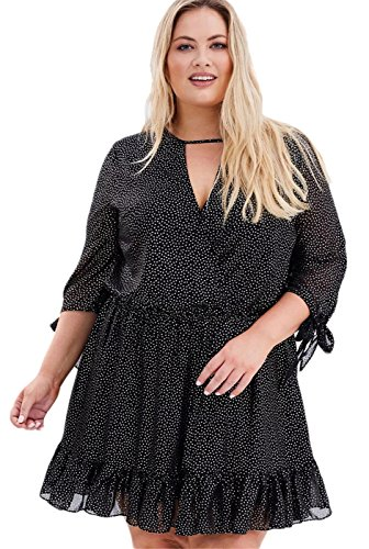 Dress Front Dotted (Arctic Cubic Sexy Plus Size Cross Wrap Front Choker Deep V Neck Half Sleeve Ruffled Ruffle Hem Dotted Mini A-line Dress Black US 22)