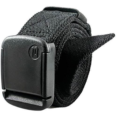 - 1.25 Inch Elastic Stretch Belt with Adjustable Buckle, Unisex (X-Small, Black)