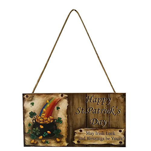 - Ecurson Patrick's Day Sign, Happy St. Patrick's Day Irish Blessing Luck Wooden Wall Doorplate Door Plaque Hanging Sign Home Decoration