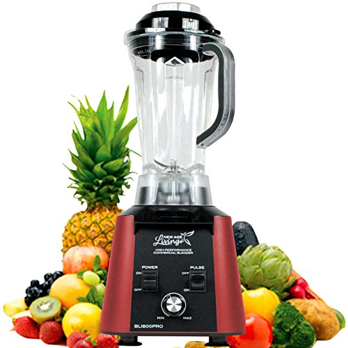 (New Age Living BL1800 | Analog Control Soup & Smoothie Blender | 3.5HP Peak Power | Blends Frozen Fruits, Vegetables, Greens, even Ice | 5 Year Warranty (Red Analog))