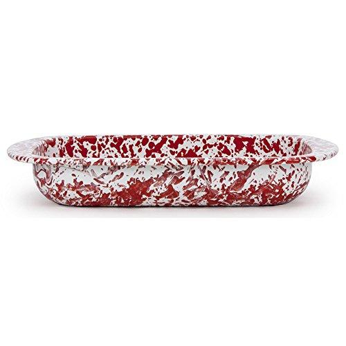 Golden Rabbit Enamelware Red Swirl Baking Pan