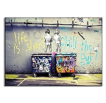 Raybre Art® Dos Niños Batas Graffiti Sobre la Pared Pintura Arte Moderno tendu y Enmarcado