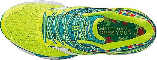 Wave Women's SafetyYellow Last Tile White Shoes White Amsterdam Mizuno TileBlue Yellow Safety Running Blue PqtFE5xw5