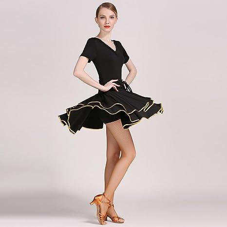 Wanson Vestido Latino de la Danza para Mujeres V-Cuello Seda de la ...