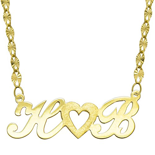 14K Yellow Gold Personalized Name Plate Necklace - Style 3 (18 Inches, Twisted Star Chain) 14k Yellow Gold Nameplate