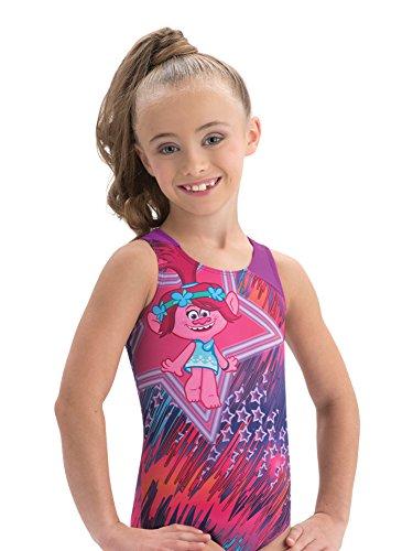 Trolls Pink Poppy Leotard Stars Retro Design by GK (Pink and Purple) - Toddler