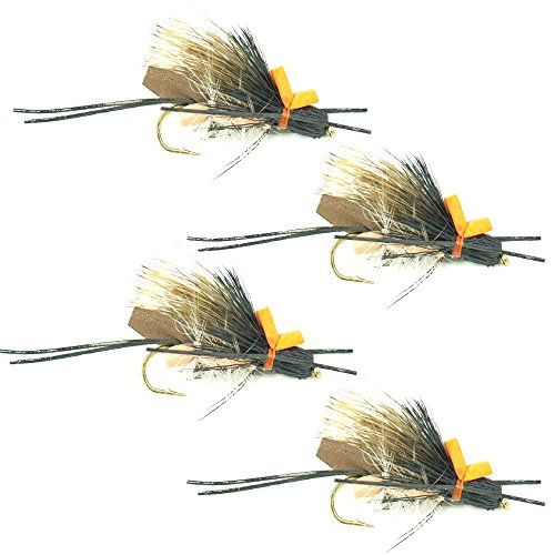am Body High Visibility Stonefly Dry Fly - 4 Flies - Hook Size 10 - Hopper Dropper Indicator Fly (Hopper Copper Dropper)