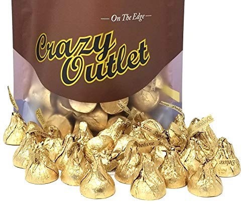 CrazyOutlet Pack - Hershey's Kisses Deluxe, Milk Chocolate Whole Hazelnut, Gold Foil Kisses, 2 lbs -