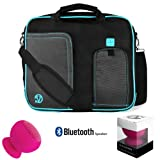 Notebook / Tablet Shoulder Carry On Bag For Dell Venue 8 Pro (BELL8-Pro81) (BELL8-1818BLK) + Pink Bluetooth Suction Speaker