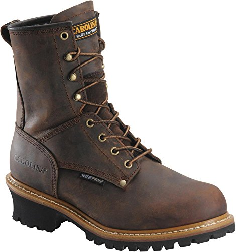 Carolina Men's ST Plain Toe Logger 8,Dark Brown Leather,US 8 2E
