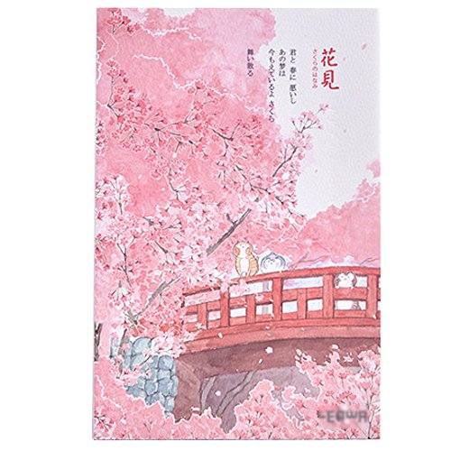 Cherry Blossom Cat Printing Artist Painter Sketch Book Blank Paper Japanese Style Notebook Diary Book Bridge