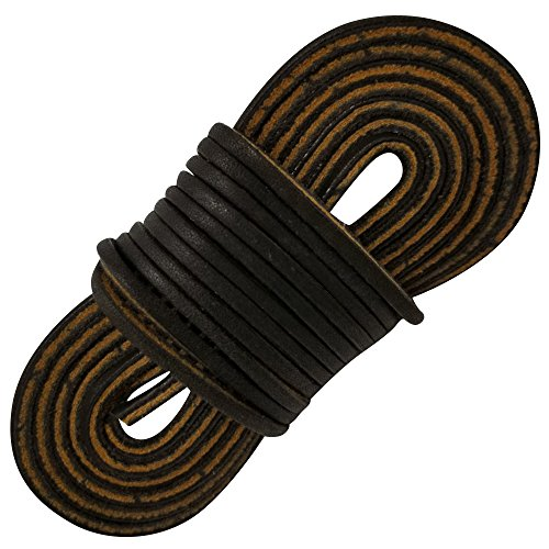 TOFL Logger Leather Boot Laces--A pair and A spear--3 Leather Boot laces each 54 Inch Long, Midnight Brown (54 inch midnight) by Tofl (Image #3)