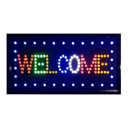 LED De Señal De Bienvenida For El Negocio: Iluminado Muestra ...