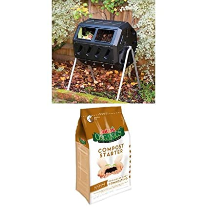 Yimby Tumbler Composter, Color Black and Compost Starter Bag Bundle