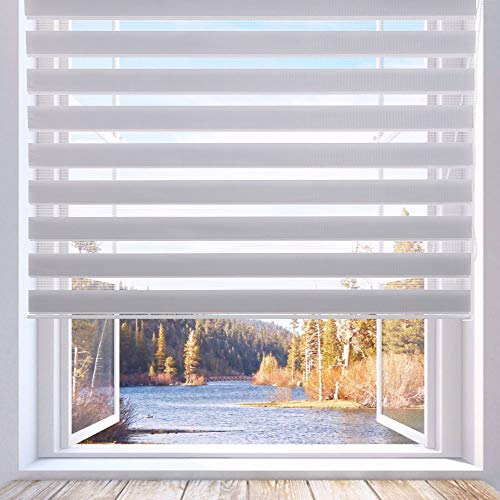 LUCKUP Horizontal Window Shade Blind Zebra Dual Roller Blinds Day and Night Blinds Curtains,Easy to Install 31.5