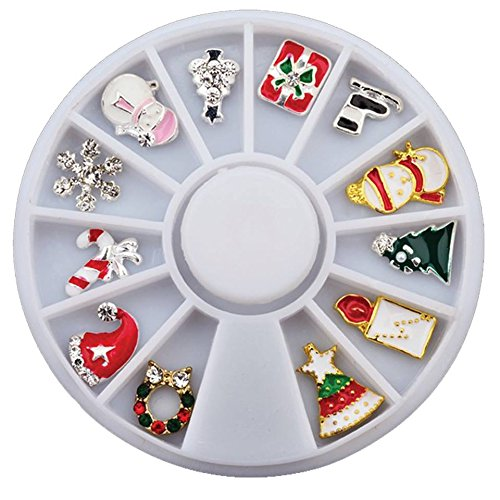 iday Nail Charm Set w/ Storage Container Wheel (snowflake, candy cane, christmas trees, candle, snowman, present, reef, santa hat, ice skates) (Present Snowman)