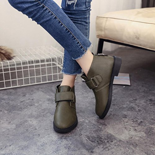 KaiCran Chelsea Boot Women Ankle Flat Heel Martin Boots Retro Fashion Boots For Ladies Riding Boots Green c0h8ymk