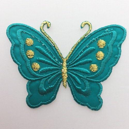 ワッペン 蝶々 バタフライ グリーン BT-3