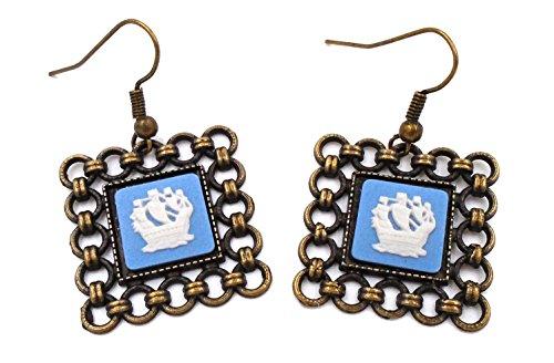Wedgwood Cameo Earrings (Wedgwood: Brass & Blue Jasperware Earrings