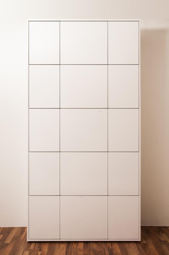 SimO H2448 B1257 T400mm Büromöbel weiß glänzend mit Kabelkanal, 10 Türen B343 und 5 Türen B516mm