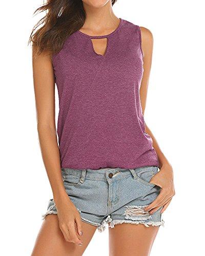 f98804818c250 Poetsky Womens Backless Tank Tops Sleeveless Keyhole Blouse Sexy Summer  Tshirt